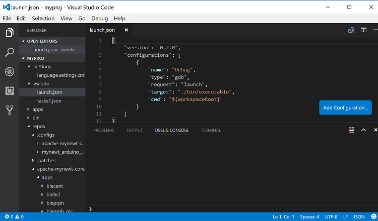 Developing Mynewt Applications with Visual Studio Code