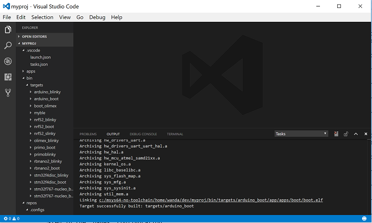 Developing Mynewt Applications with Visual Studio Code — Apache